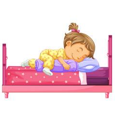 Girl lying on bed vector
