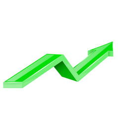 green arrow up growing 3d shiny icon vector image