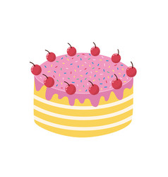 hand drawn cake with cherries isolated element vector image
