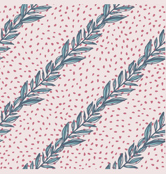 Hand drawn diagonal floral pattern with leaf vector