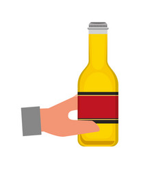 hand holding bottle beer isolated design vector image