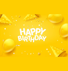 Happy birthday banner with confetti with greetings vector