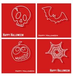 happy halloween cover template set vector image