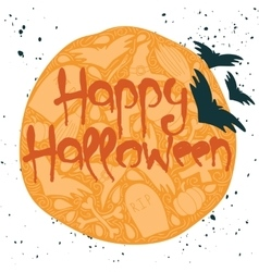 Happy Halloween poster with red lettering vector image
