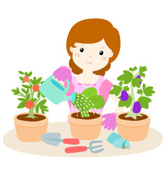 happy woman watering plants cartoon vector image