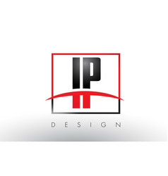 Ip i p logo letters with red and black colors and vector