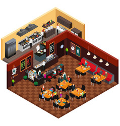 isometric design of a restaurant vector image