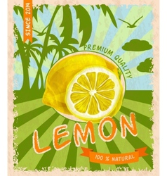 Lemon retro poster vector image
