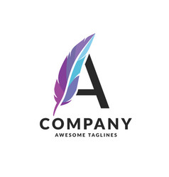 luxurious letter a feather logo vector image