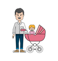 Man with mustache and his baby icon vector