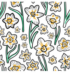 Minimalist colors white daffodils seamless vector