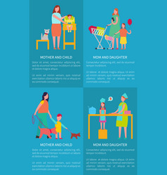 Mom and daughter mother with child posters vector