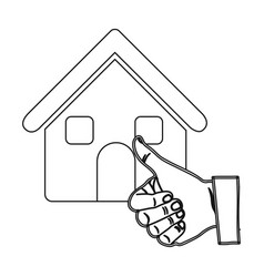 Monochrome contour house with hand thumb up vector