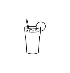 orange juice with straw hand drawn sketch icon vector image