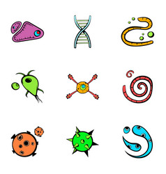 organism icons set cartoon style vector image