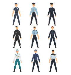 Police people set police uniform of different vector