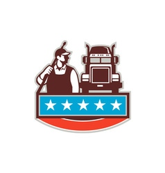 Pressure washer worker truck usa flag retro vector