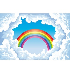Rainbow in the sky with clouds vector image