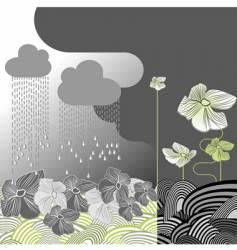 rainy day flowers vector image