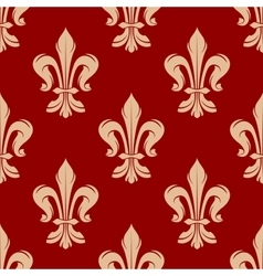 Red floral seamless pattern with fleur-de-lis vector image