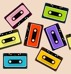 retro background with audio cassettes vector image