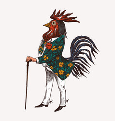 rooster character with a cane and boots vector image