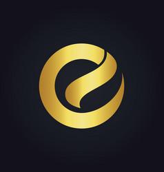Round letter e shape gold logo vector