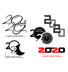 set 2020 happy new year symbols vector image