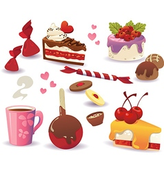 set cakes and other sweet food vector image