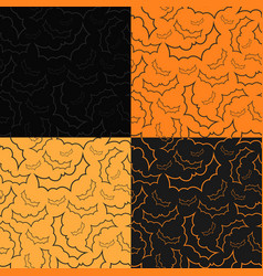 set four halloween backgrounds with bats vector image