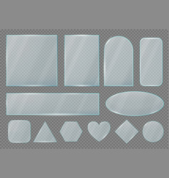 set glass plates frames realistic shapes vector image