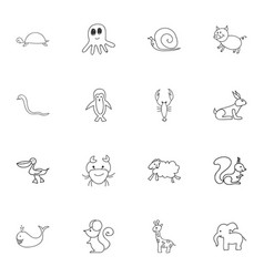 Set of 16 editable zoo doodles includes symbols vector