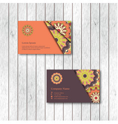 set of two ornamental floral mandala cards vector image