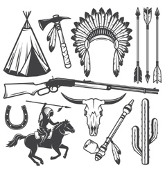 Set of wild west american indian designed elements vector