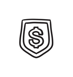 Shield with dollar symbol sketch icon vector