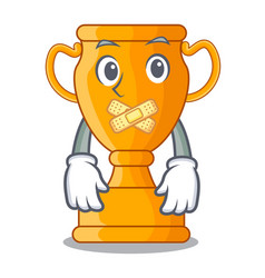 Silent golden trophy cup isolated on mascot vector