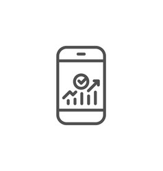 smartphone audit or statistics line icon vector image