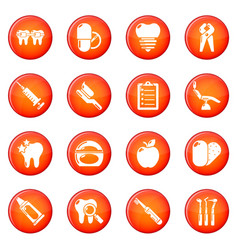 stomatology dental icons set red vector image