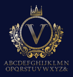 Striped letters and monogram in coat of arms vector