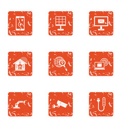 Tech email icons set grunge style vector