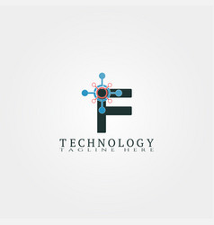 Technology icon template with f letter creative vector