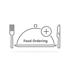 thin line food ordering with tray vector image
