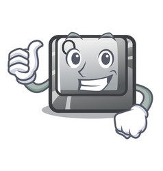 Thumbs up q button on cartoon keyboard vector