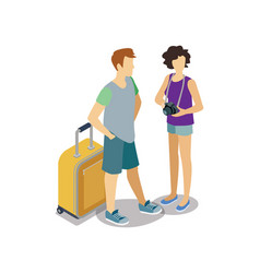 traveling young couple with travel bag vector image