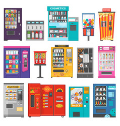 Vending machine vend food or beverages and vector
