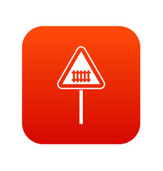 warning road sign icon digital red vector image
