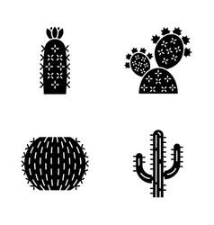 wild cactus glyph icons set vector image
