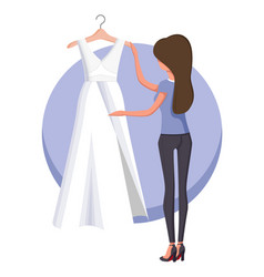 Woman and wedding dress poster vector