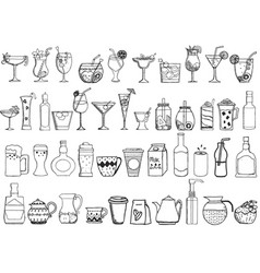 big set of hand drawn drinks on white background vector image vector image
