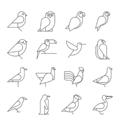 Bird icons thin line style flat design vector image vector image